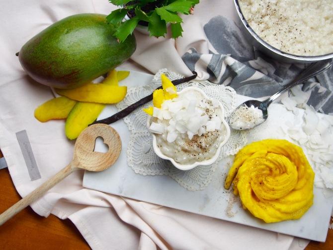 Kokos-Milchreis mit Mangorose